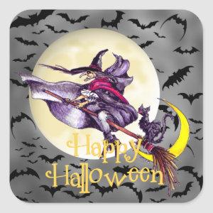 Halloween witch cartoon Holiday sticker