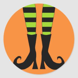 Halloween Witch Feet in Green Orange Background Classic Round Sticker