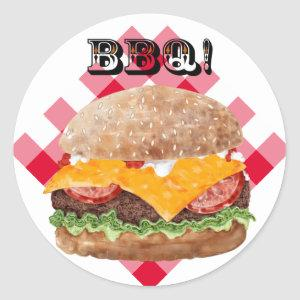 Hamburger BBQ Fast Food Diner Classic Round Sticker