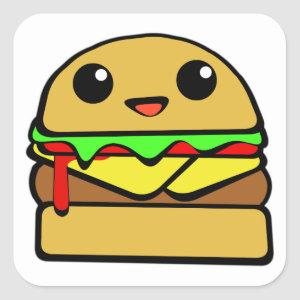 Hamburger Character Square Sticker