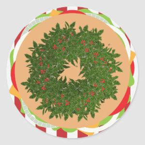 Hamburger cheeseburger holly wreath burger classic round sticker