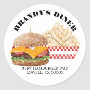 Hamburger Fries Fast Food BBQ Address Classic Round Sticker