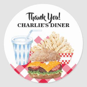 Hamburger Fries Fast Food BBQ Diner Classic Round Sticker