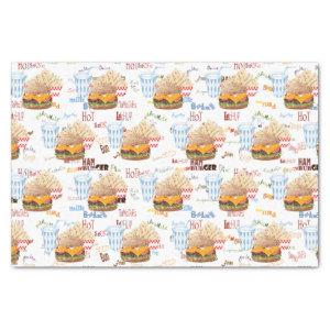 Hamburger Fries Fast Food BBQ Diner Tissue Paper