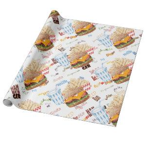 Hamburger Fries Fast Food BBQ Diner Wrapping Paper