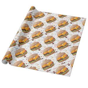 Hamburger with Cheese Fast Food BBQ Diner Wrapping Paper