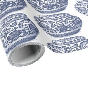 Hamptons Navy Blue White New England Ginger Jar Wrapping Paper