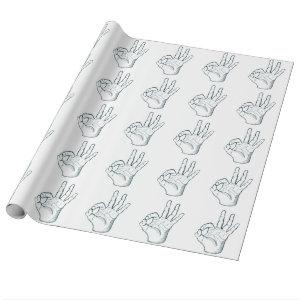Hand draw sketch vintage okay hand sign wrapping paper