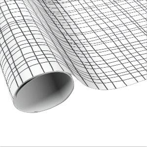 Hand drawn pinstripes grid lines black and white wrapping paper