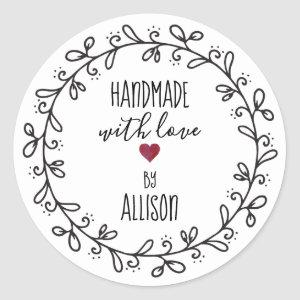 Handmade With Love Personalized Artisan / Craft Classic Round Sticker