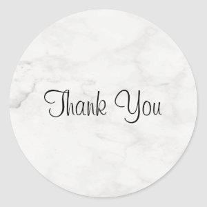 Handwriting Thank You Script Template Marble Chic Classic Round Sticker