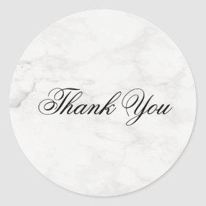 Handwriting Thank You Template Modern Marble Chic Classic Round Sticker