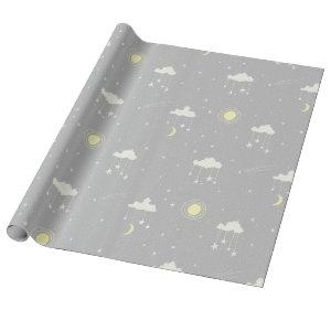 Hanging Stars - Gender Neutral Grey and Cream Wrapping Paper