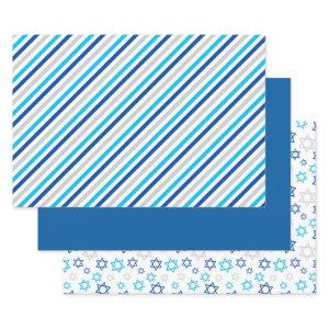Hanukkah Blue Silver Wrapping Paper Sheets