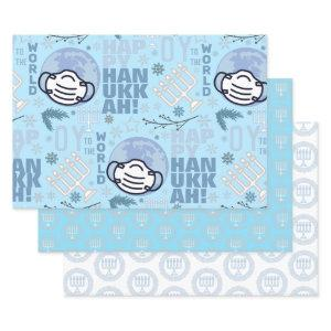 Hanukkah Menorah Blue Oy To The World Holiday Pack Wrapping Paper Sheets