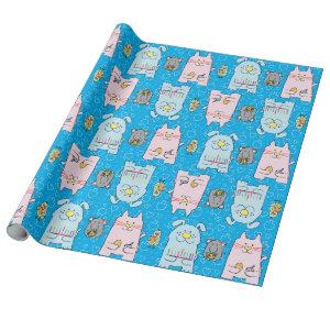 "Hanukkah Wrapping Paper ""Dog Cat Bird Mouse"""