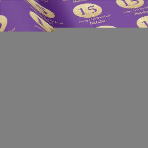 Happy 15th Birthday Purple and Gold Glitter Wrapping Paper