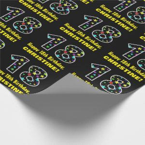 Happy 18th Birthday, Fun Colorful Stars Pattern 18 Wrapping Paper