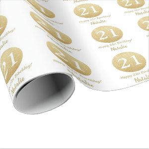 Happy 21st Birthday Gold Glitter and White Wrapping Paper