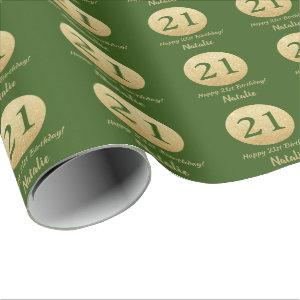 Happy 21st Birthday Green and Gold Glitter Wrapping Paper
