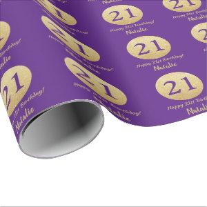 Happy 21st Birthday Purple and Gold Glitter Wrapping Paper