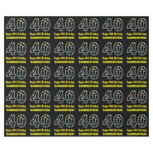 Happy 40th Birthday, Fun Colorful Stars Pattern 40 Wrapping Paper