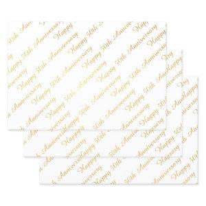 Happy 50th Anniversary Script Pattern White Gold Foil Wrapping Paper Sheets