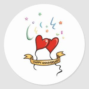 Happy Anniversary Banner Classic Round Sticker