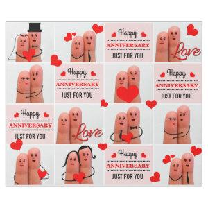 Happy anniversary finger art love couples wrapping paper