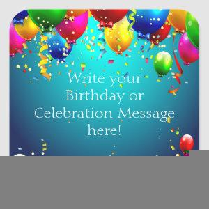 Happy Birthday - Blue Colored Balloons - Customize Square Sticker