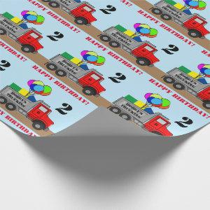 Happy Birthday Boys Truck Personalize Name Age Wrapping Paper
