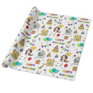Happy Birthday Cats wrapping paper by Nicole Janes