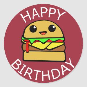 Happy Birthday Cheese Burger Classic Round Sticker