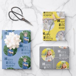 Happy Birthday Custom Photo Set of 3 Blue Yellow Wrapping Paper Sheets