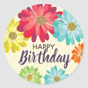 Happy Birthday customize name spring flowers Classic Round Sticker