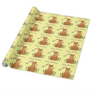Happy Birthday - Cute Cat Wrapping Paper