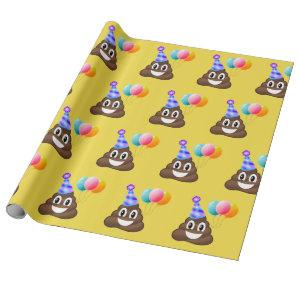 Happy Birthday Emoji Poop Wrapping Paper