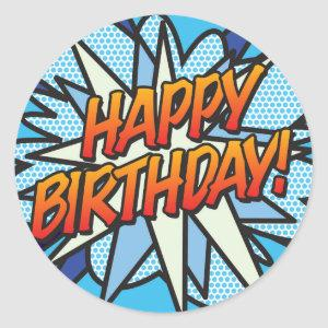 HAPPY BIRTHDAY Fun Retro Comic Book Classic Round Sticker