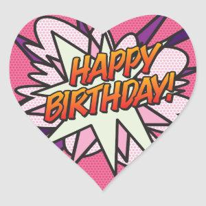 HAPPY BIRTHDAY Fun Retro Comic Book Pink Heart Sticker