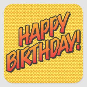 HAPPY BIRTHDAY Fun Retro Comic Book Square Sticker
