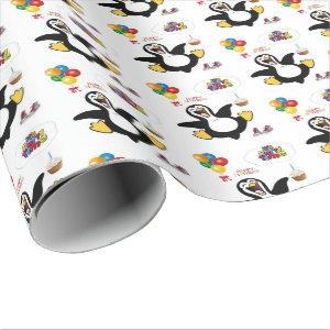 Happy Birthday Gift Wrapping Paper Penguin
