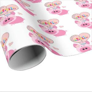 Happy Birthday Gift Wrapping Paper Pink Pig