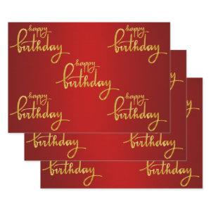 Happy Birthday Gold Foil Wrapping Paper Sheets