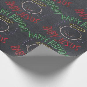 Happy Birthday Jesus - Christmas Color Chalkboard Wrapping Paper