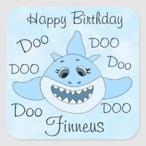 Happy Birthday Personalized Baby Shark Square Sticker