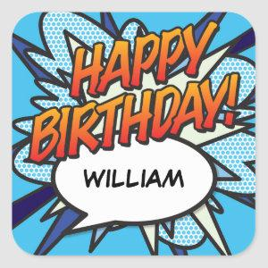 HAPPY BIRTHDAY Speech Bubble Fun Retro Comic Book Square Sticker