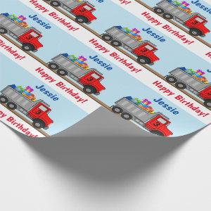 Happy Birthday Truck Load of Gifts Boys Name Age Wrapping Paper
