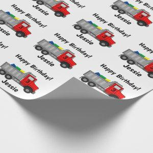 Happy Birthday Truck Personalize Boy's Name Age Wrapping Paper