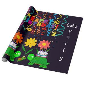 Happy Birthday Wrapping Paper Turtles