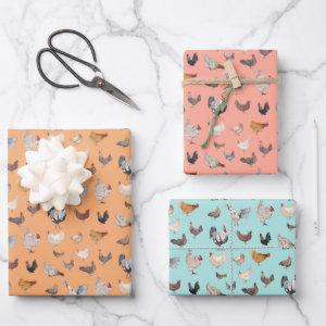 Happy Chickens Wrapping Paper Flat Sheet Set of 3